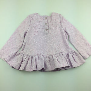 Girls Pumpkin Patch, lilac lace long sleeve top, EUC, size 1
