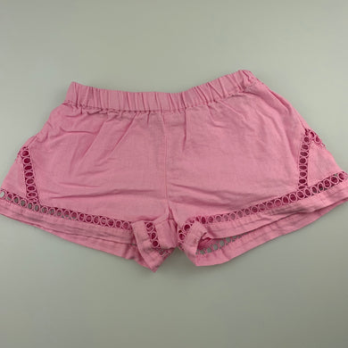 Girls Seed, pink linen / cotton shorts, elasticated, GUC, size 4