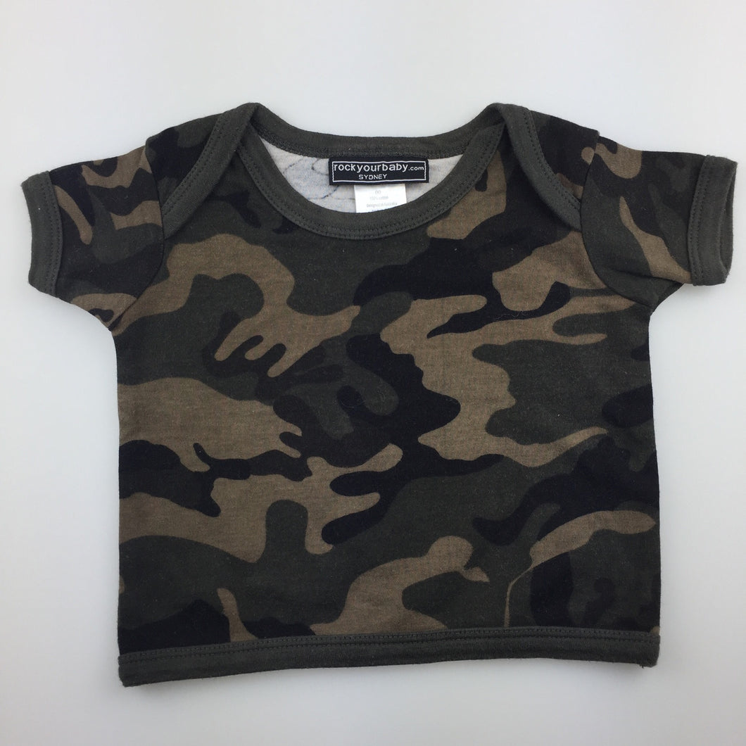 Boys Rock your baby, cotton camo print tee / top, GUC, size 00
