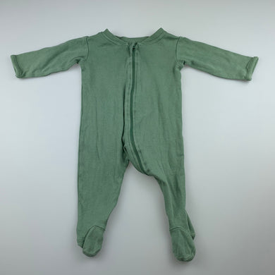 Unisex Anko Baby, green cotton zip coverall / romper, GUC, size 000
