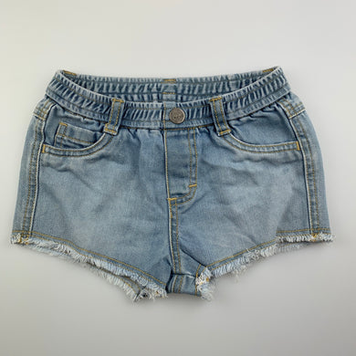 Girls Fred Bare, blue denim shorts, elasticated, GUC, size 1