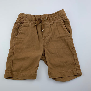 Boys Pumpkin Patch, tan cotton shorts, elasticated, GUC, size 2