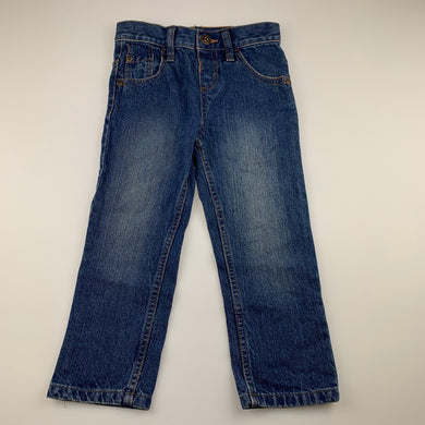 Boys Blue Zoo, blue denim jeans, adjustable, Inside leg: 38cm, EUC, size 3-4