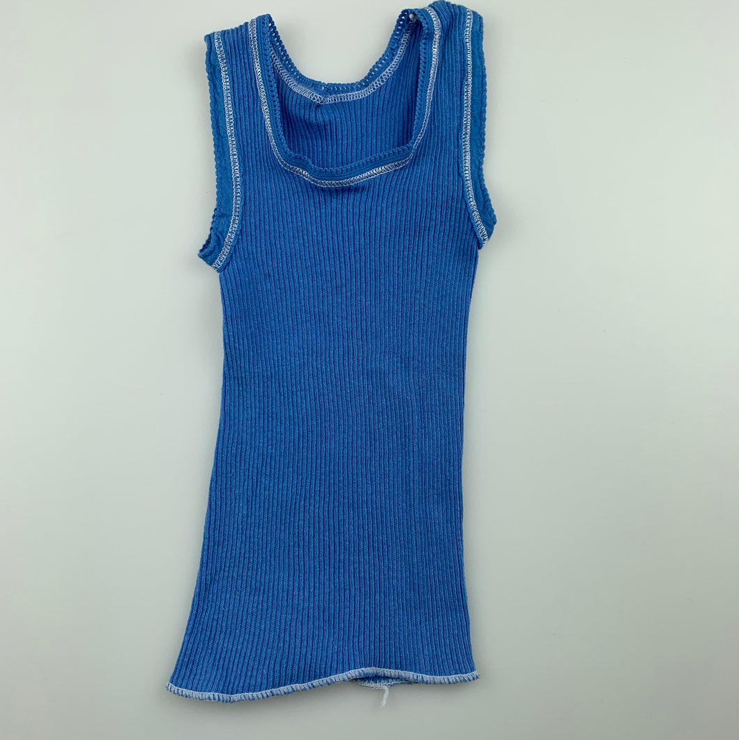 Unisex Bonds, blue ribbed cotton singlet top, EUC, size 0