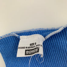 Load image into Gallery viewer, Unisex Bonds, blue ribbed cotton singlet top, EUC, size 0