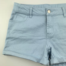 Load image into Gallery viewer, Girls Clothing & Co, blue stretch cotton shorts, adjustable, EUC, size 12