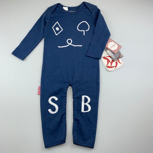 Unisex Sooki Baby, blue soft cotton romper, NEW, size 1