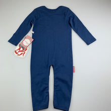 Load image into Gallery viewer, Unisex Sooki Baby, blue soft cotton romper, NEW, size 1