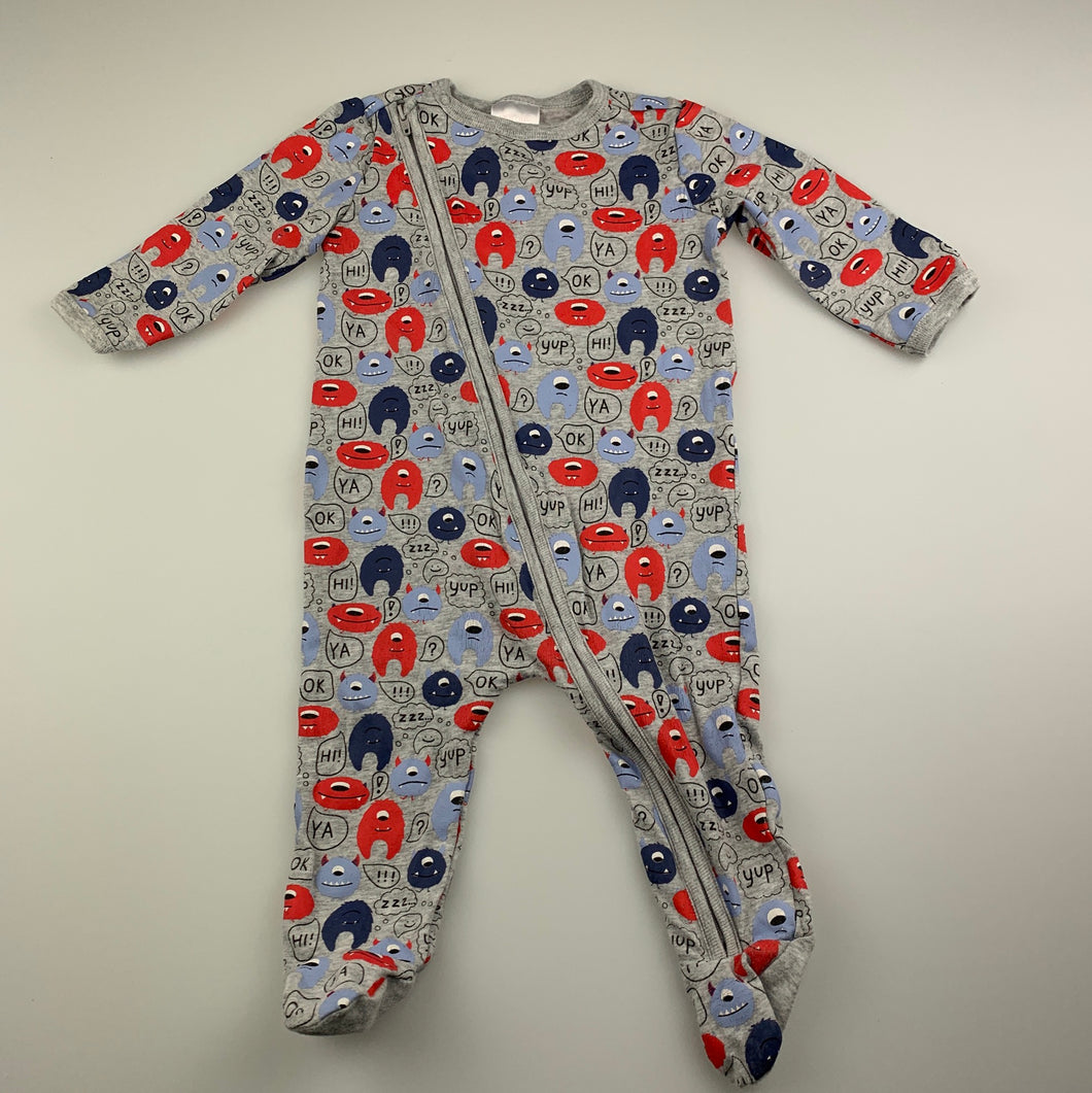 Boys Sprout, zip coverall / romper, monsters, FUC, size 00