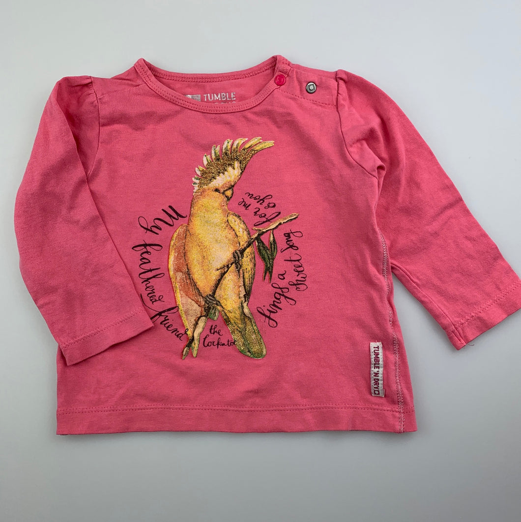 Girls Tumble 'n Dry, pink stretchy long sleeve t-shirt / top, cockatoo, GUC, size 00