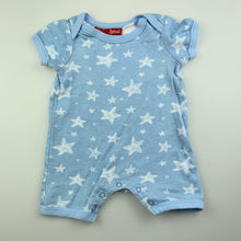 Load image into Gallery viewer, Unisex Sprout, blue cotton romper, stars, GUC, size 00