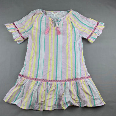 Girls Seed, cotton lined lightweight pastel stripe dress, EUC, size 7