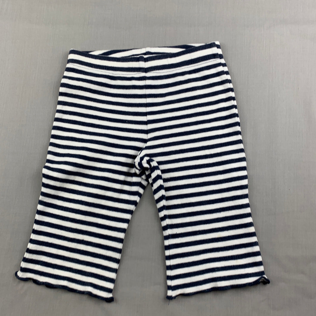Girls Dymples, navy stripe stretchy bottoms, FUC, size 1
