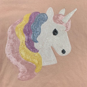 Girls Cotton On, pink t-shirt / top, sequin unicorn, GUC, size 7