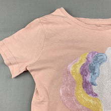 Load image into Gallery viewer, Girls Cotton On, pink t-shirt / top, sequin unicorn, GUC, size 7