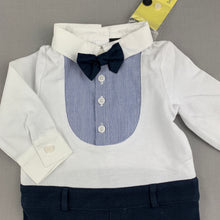 Load image into Gallery viewer, Boys Bardot Junior, cute cotton romper, bow tie, formal, NEW, size 00