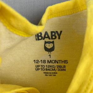 Unisex Cotton On Baby, yellow zip romper, GUC, size 1