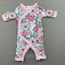 Load image into Gallery viewer, Girls Dymples, floral cotton romper, EUC, size 00000
