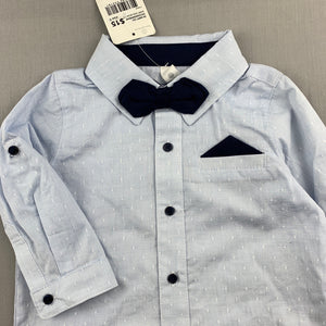 Boys Dymples, lightweight cotton shirt & bow tie, NEW, size 0