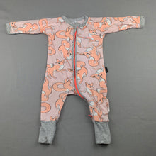 Load image into Gallery viewer, Unisex Bonds, zip wondersuit / zippy / romper, foxes, FUC, size 000
