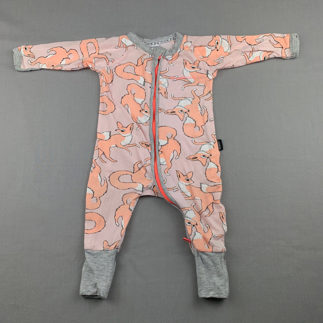 Unisex Bonds, zip wondersuit / zippy / romper, foxes, FUC, size 000