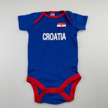 Load image into Gallery viewer, Unisex Croatia, cotton bodysuit / romper, EUC, size 0