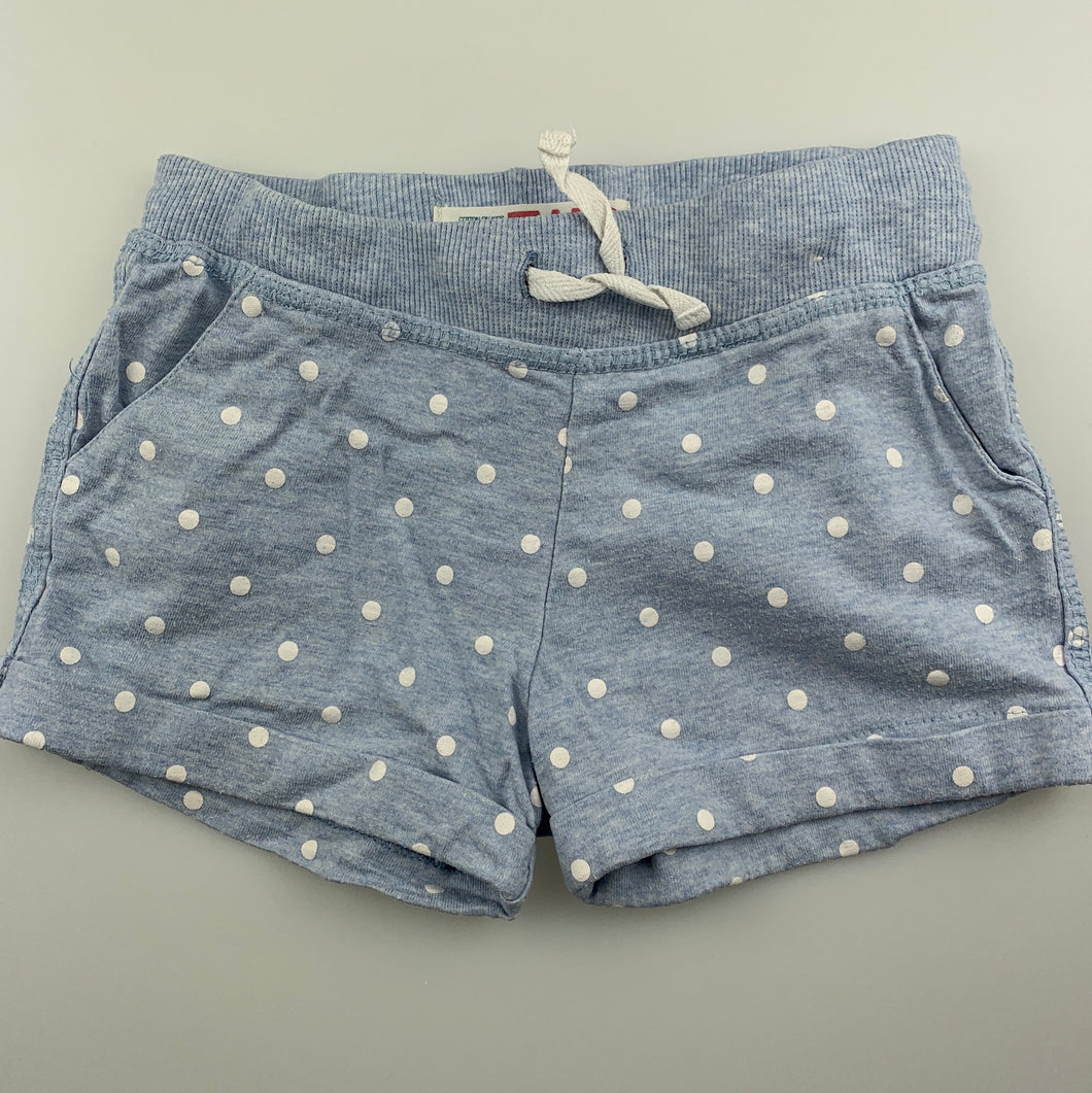Girls Cotton On, blue cotton shorts, elasticated, GUC, size 2