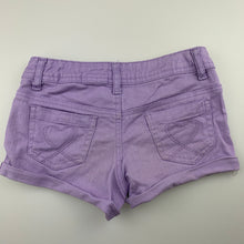 Load image into Gallery viewer, Girls Target, purple stretch denim shorts, adjustable, GUC, size 8