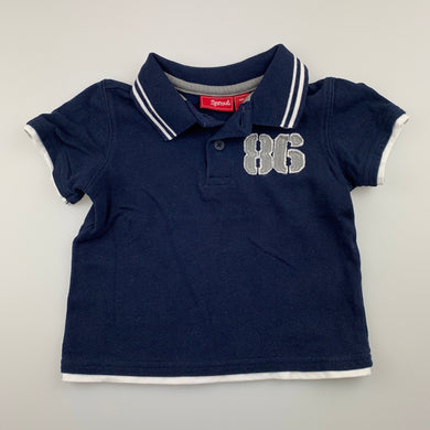 Boys Sprout, navy cotton polo shirt / top, GUC, size 1