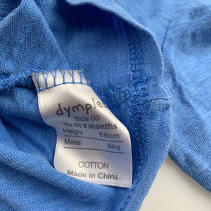 Boys Dymples, blue cotton long sleeve top, truck, FUC, size 00