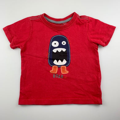 Boys Sprout, red cotton t-shirt / top, FUC, size 1