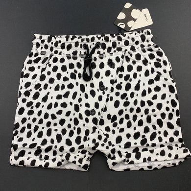 Unisex Chi Khi, black & white bamboo blend wrap shorts, elasticated, NEW, size 5-6