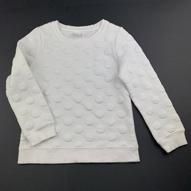 Girls Seed, white textured sweater / jumper, GUC, size 4-5