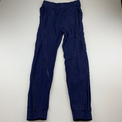 Girls Bardot Junior, navy viscose pants, elasticated, Inside leg: 63cm, GUC, size 12