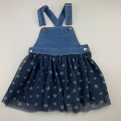 Girls Anko, stretch denim & tulle overalls dress, EUC, size 4