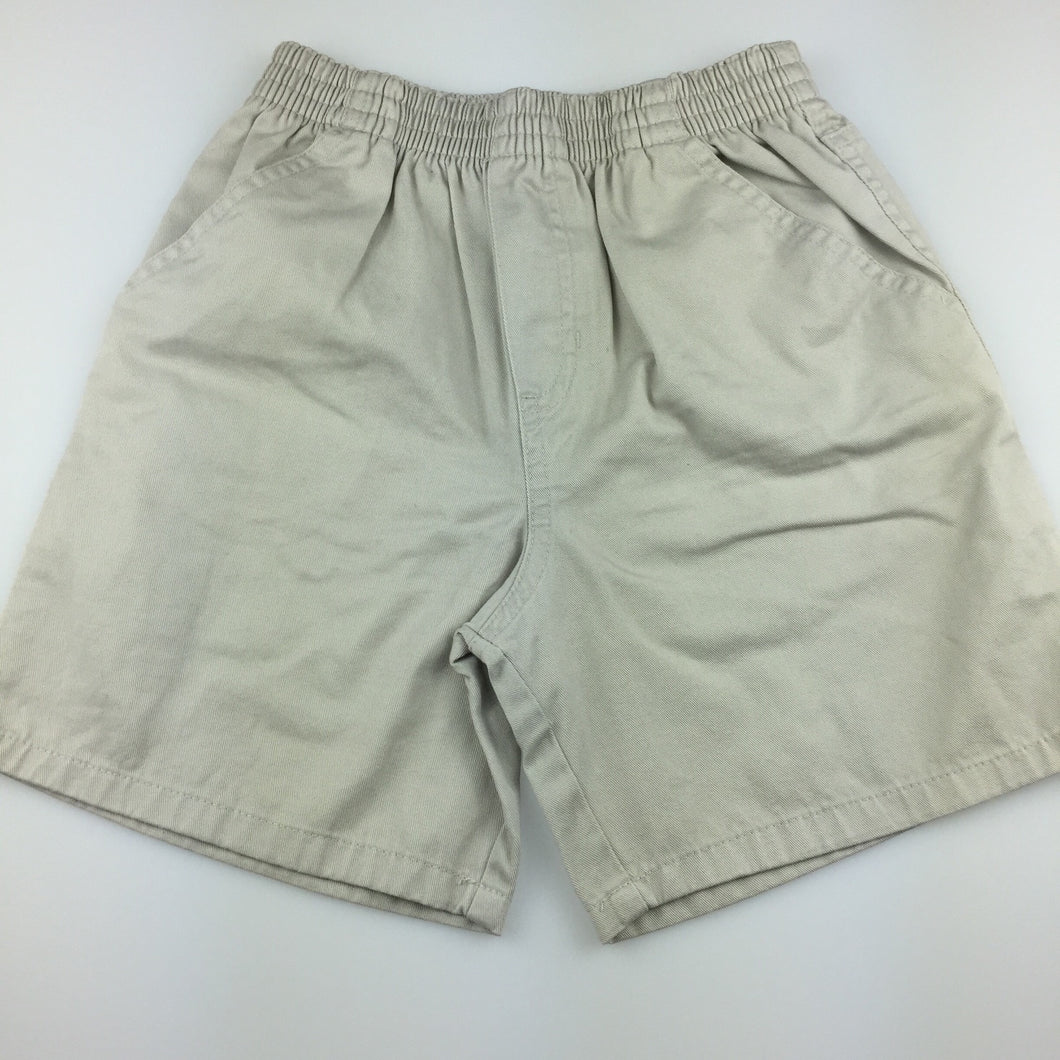Boys TKS Basics, beige cotton shorts, elasticated waist, EUC, size 5-6