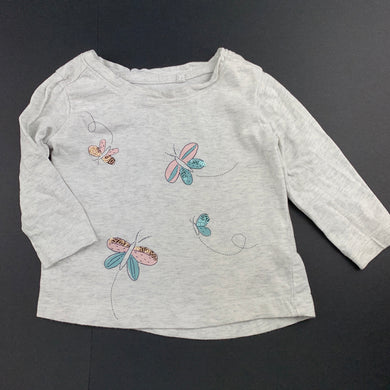 Girls Anko, grey cotton long sleeve top, butterflies, GUC, size 1