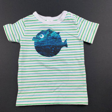 Boys Baby Patch, striped stretchy t-shirt / top, fish, FUC, size 0000