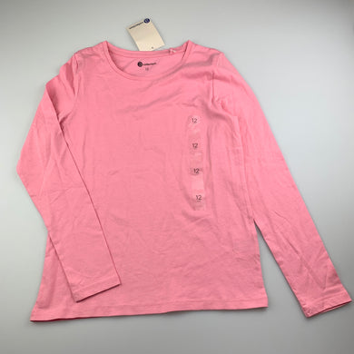 Girls B Collection, pink cotton long sleeve t-shirt / top, NEW, size 12