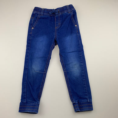Unisex Seed, stretch knit denim pants, elasticated, Inside leg: 37cm, GUC, size 4