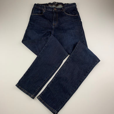 Boys Indie, dark stretch denim jeans, adjustable, Inside leg: 77cm, GUC, size 14