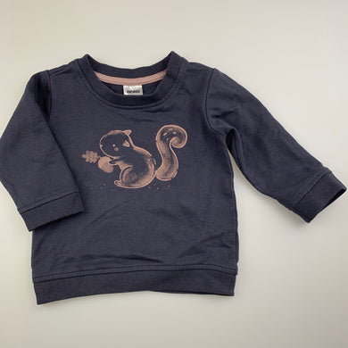 Unisex Anko Baby, blue lighgtweight sweater top, squirrel, FUC, size 0