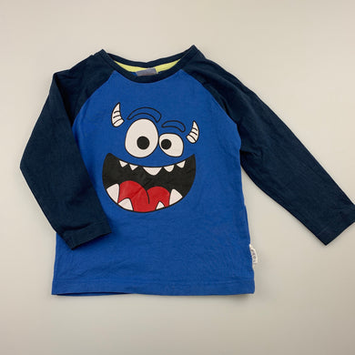 Boys Sprout, blue cotton long sleeve t-shirt / top, GUC, size 1