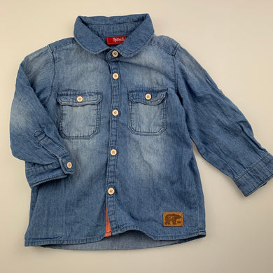 Boys Sprout, chambray cotton long sleeve shirt, EUC, size 1