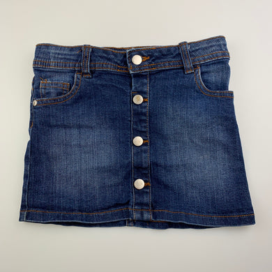 Girls B Collection, blue stretch denim skirt, adjustable, GUC, size 6