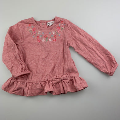 Girls Babaluno, embroidered cotton long sleeve top, EUC, size 0
