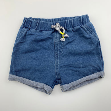 Unisex Anko Baby, lightweight knit denim shorts, elasticated, EUC, size 00
