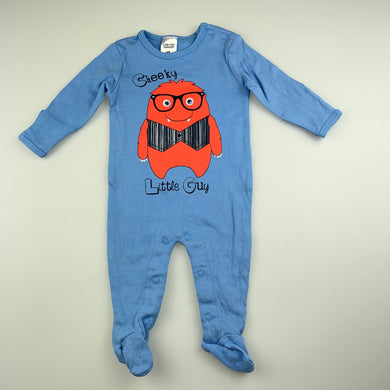 Boys Baby Berry, blue cotton coverall / romper, GUC, size 000