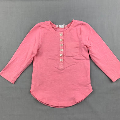 Girls Country Road, pink stretch cotton henley top, GUC, size 00