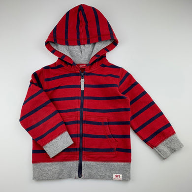 Boys Sprout, red stripe cotton zip hoodie sweater, GUC, size 2